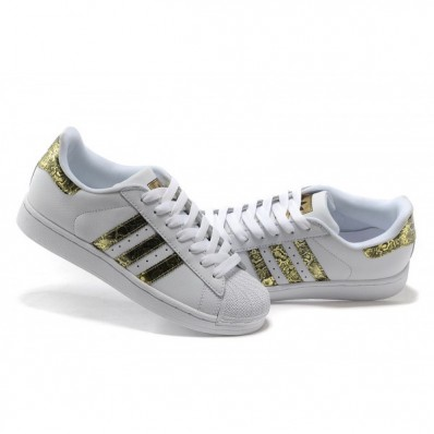 chaussure adidas superstar 2 cuir blanc or