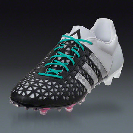 adidas ace 15.1 soldes, ADidas ACE 15.1 FG/AG Firm Ground Football Cleats Noir Matte Argent Blanc 5087 En