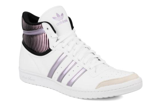 adidas baskets cuir top ten hi sleek femme, Adidas Originals Top ten hi sleek w (Blanc) - Baskets chez Sarenza (77989)