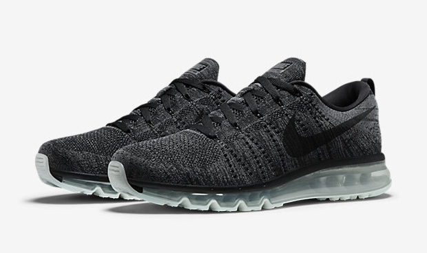 nike air max flyknit noir, nike-flyknit-air-max-black-dark-grey-620469-